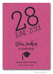 Shimmery Hot Pink Modern Graduation Save the Date Cards