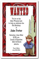 Western Birthday Invitations Most Wanted Cowboy