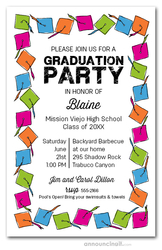 Multi Color Graduation Hats Invitations
