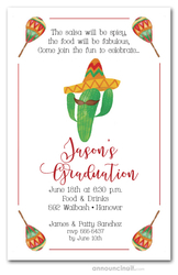 Mustached Cactus Fiesta Graduation Party Invitations