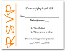 Orange on White RSVP Cards #6