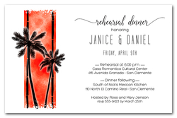 Palm Trees on Orange Invitations