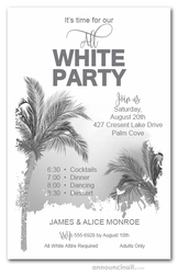Palm Tree All White Party Invitations