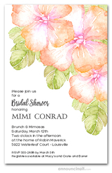 Peach Hibiscus Bridal Shower Invitations