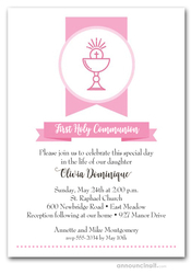 Pink Chalice Banner First Communion Invitations