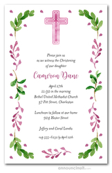Pink Cross, Leaves & Buds Religious Invitations