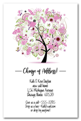 Pink Floral Tree Moving Announcements