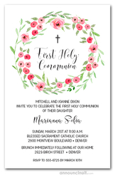 Pink Blooms Wreath Communion Invites