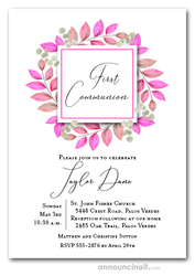 Leaves Pink First Communion Invitations