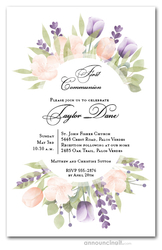 Pink and Purple Tulips Communion Invitations