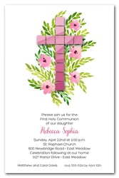 Pink Tile Cross First Holy Communion Invitations