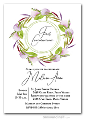 Pink Tulips Wreath Communion Invitations