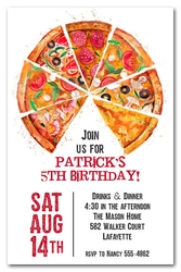 Pizza Pie Slices Party Invitations