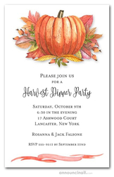 Pumpkin and Bright Fall Leaves Invitations