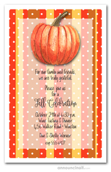 Pumpkin on Fall Stripes Invitations