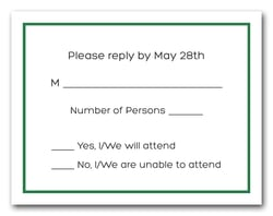 Dark Green Border RSVP Cards #8
