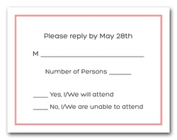 Light Coral Border RSVP Cards 8