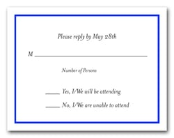 Royal Blue Border RSVP Card #8