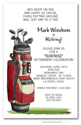 Red Golf Bag Party Invitations
