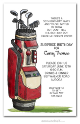 Red Golf Bag Birthday Invitations