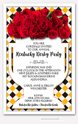 Vase of Roses on Diamonds Derby Invitations