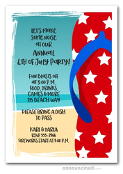 Patriotic Stars Flip Flops Beach Party Invitations