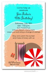 Chaise on the Beach Party Invitations
