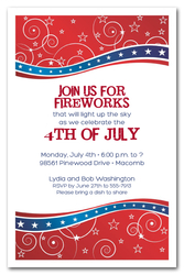 4th of July Red Blue Swirls & Stars Invitations