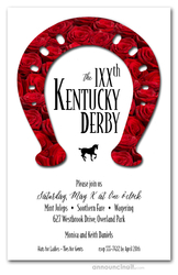 Rose Covered Horseshoe Derby Invitations