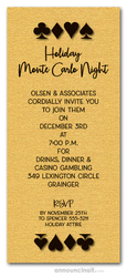 Card Suits on Shimmery Gold Party Invitations
