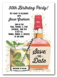 Bourbon Bottle Save the Date Cards