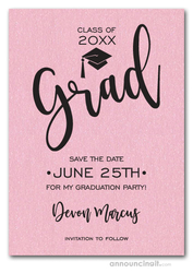Simple Grad Shimmery Pink Save the Date Cards