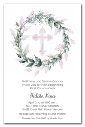 Sage Wreath Pink Cross Invitations