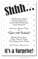 Shhh Black Polka Dot Surprise Party Invitations