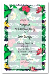 Tropical Flowers on Stripes Party Invitations