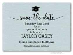 Grad Hat on Shimmery Aqua Save the Date Cards