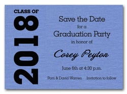 Shimmery Blue Graduation Save the Date Cards