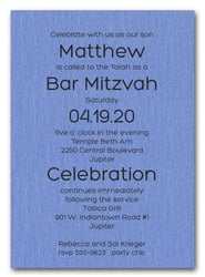 Shimmery Blue Bold Bar Mitzvah