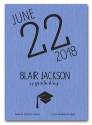 Shimmery Blue Modern Graduation Save the Date Cards