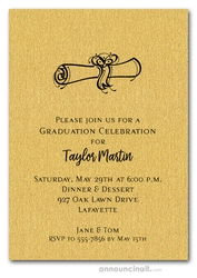 Diploma on Shimmery Gold Graduation Invitations