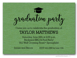 Hat on Shimmery Green Graduation Party Invitations