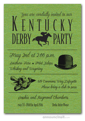 Shimmery Green Derby Day Invitations