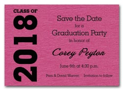 Shimmery Hot Pink Graduation Save the Date Cards