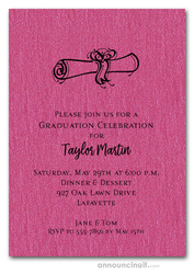 Diploma on Shimmery Hot Pink Graduation Invitations
