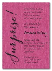 Shimmery Hot Pink Surprise Party Invitations