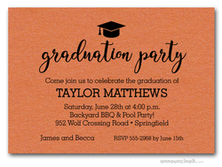 Hat on Shimmery Orange Graduation Party Invitations