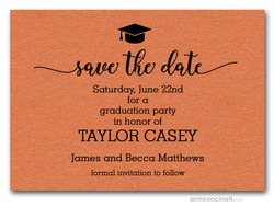 Grad Hat on Shimmery Orange Save the Date Cards