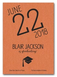 Shimmery Orange Modern Graduation Save the Date Cards