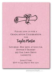 Diploma on Shimmery Pink Graduation Invitations