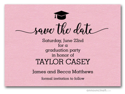 Grad Hat on Shimmery Pink Save the Date Cards